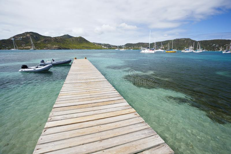 Pier bij Duifstrand, Antigua royalty-vrije stock foto's