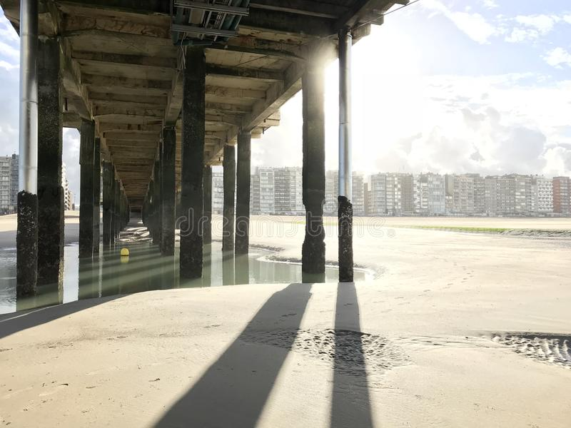Pier in Blankenberge stock photography