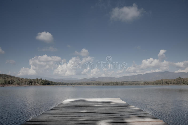 Pier In Blue Lake - Thailand Royalty Free Stock Images