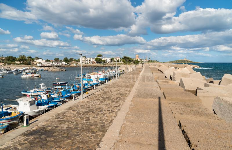Pier with boats of Isola delle Femmine, Palermo, Sicily, Italy. Pier with boats of Isola delle Femmine or the Island of Women located on the shore of stock photography