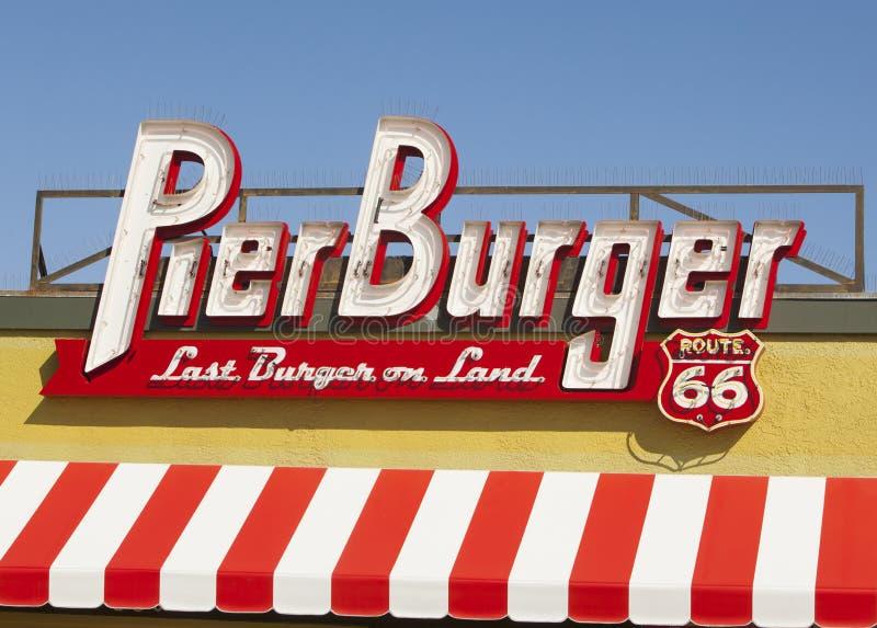 Pier Burger Santa Monica California stock afbeelding