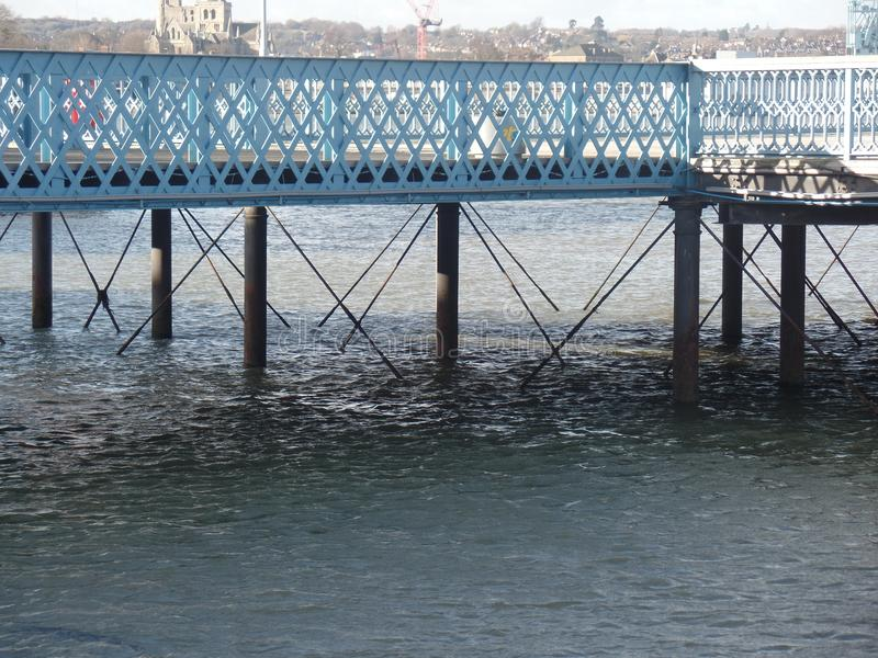 The pier in Chatham, Kent. Close up view of the pier above the river Medway in Chatham, Kent royalty free stock image