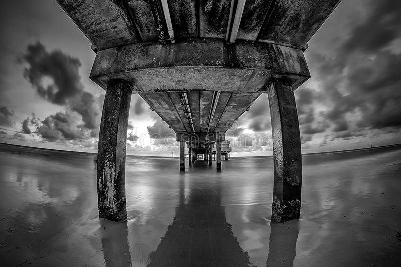 Pier 60 Clearwater Florida black and white image royalty free stock images