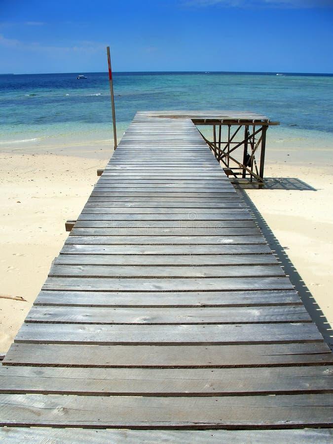 Pier in der Sipadan Insel, Sabah, Malaysia stockbild