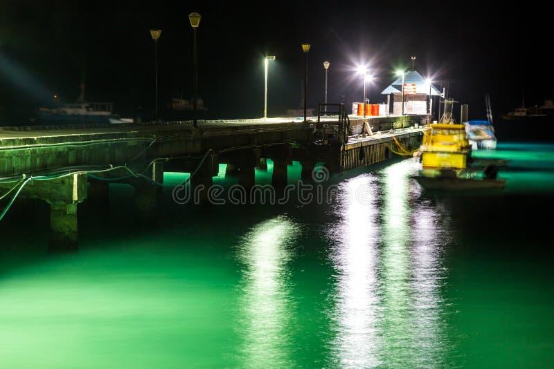 Pier en Groen Water bij Nacht royalty-vrije stock foto's