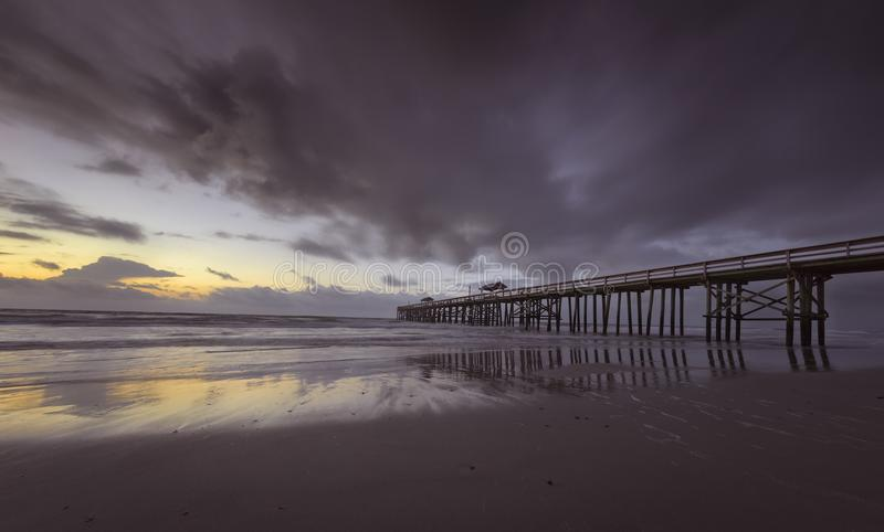Fernandina Beach Pier. Pier in Fernandina Beach on Amelia Island during sunrise stock images