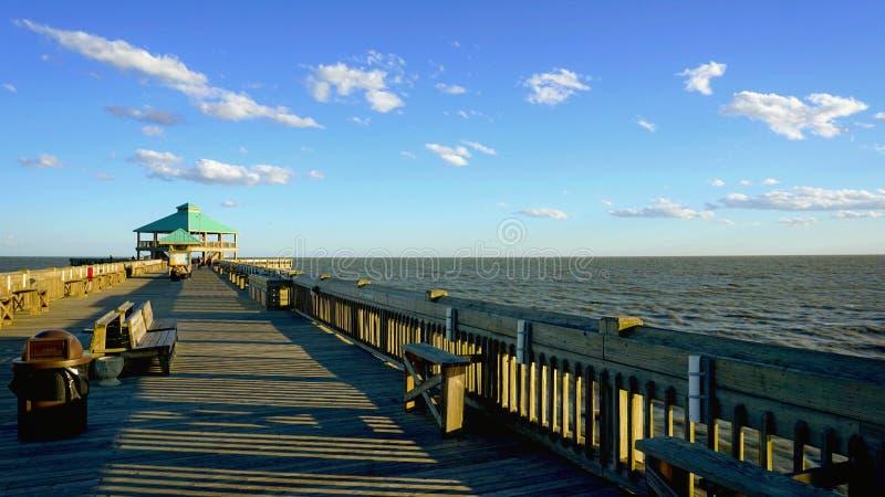 The pier at Folly Beach stock photos