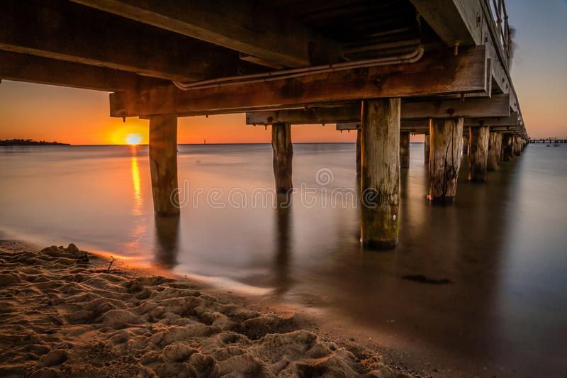 Pier in Frankston, Victoria, Australia at sunset in the summer royalty free stock images