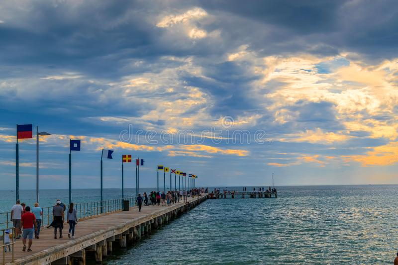Pier in Frankston after the storm stock photography