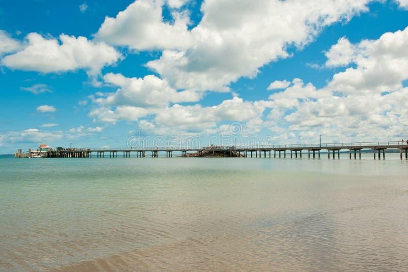 Pier of Fraser Island, West Coast of Australia. Landing on beach in Fraser Island, Queensland, West Coast of Australia. Fraser Island is the stock photography