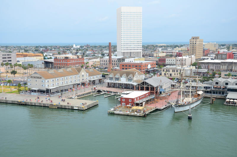 Pier 21 Harbor Side in Galveston, Texas USA. Pier 21 is a waterfront entertainment and dining area located on Galveston's historic harbor in The Historic stock image