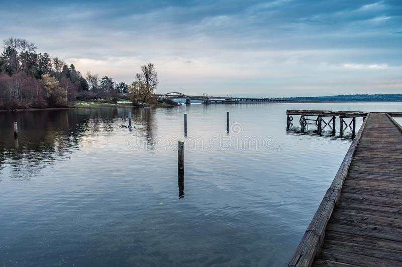 Pier And Highway Bridige photo stock