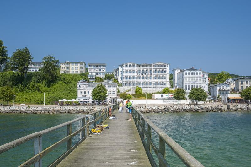 Pier with historic villas and hotel Fürstenhof in Sassnitz on t. Pier with historic villas and hotel Fürstenhof, Sassnitz, Rügen, Mecklenburg-Vorpommern royalty free stock photography