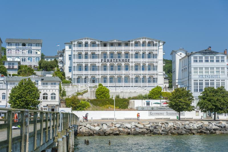 Pier with historic villas and hotel Fürstenhof in Sassnitz on t. Pier with historic villas and hotel Fürstenhof, Sassnitz, Rügen, Mecklenburg-Vorpommern stock photography