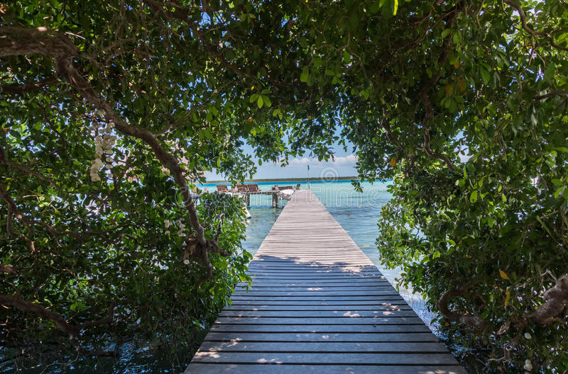 Pier on the lake in Bacalar, Mexico. A pier on lake Bacalar in Mexico stock images