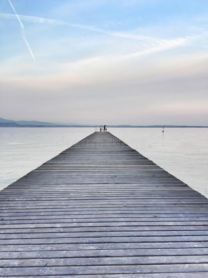 Pier in Lake Garda royalty free stock photos