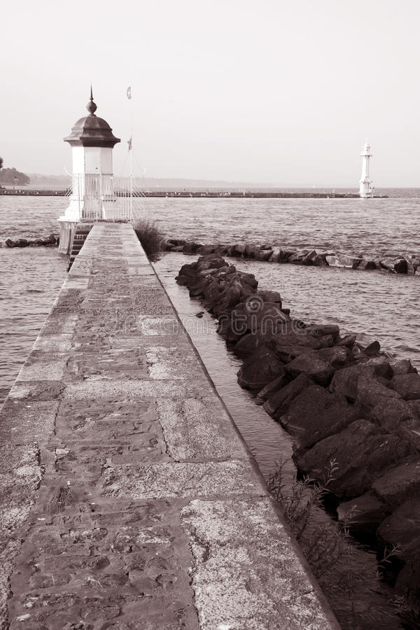 Download Pier on the Lake, Geneva stock photo. Image of sepia - 28702560