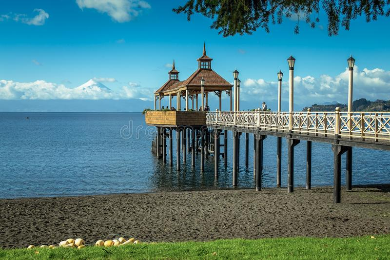 Pier in the lake stock photography