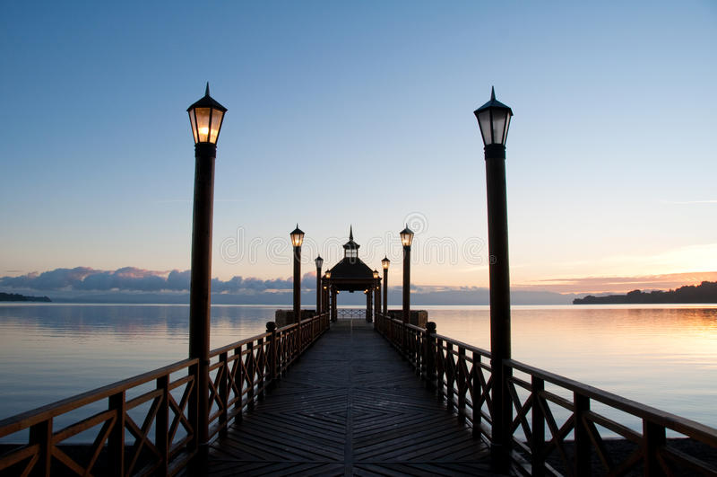 Pier at Llanquihue lake royalty free stock photos