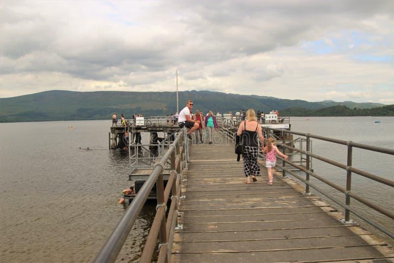 Pier in Luss, on the western shore of Loch Lomond, Scotland. royalty free stock image