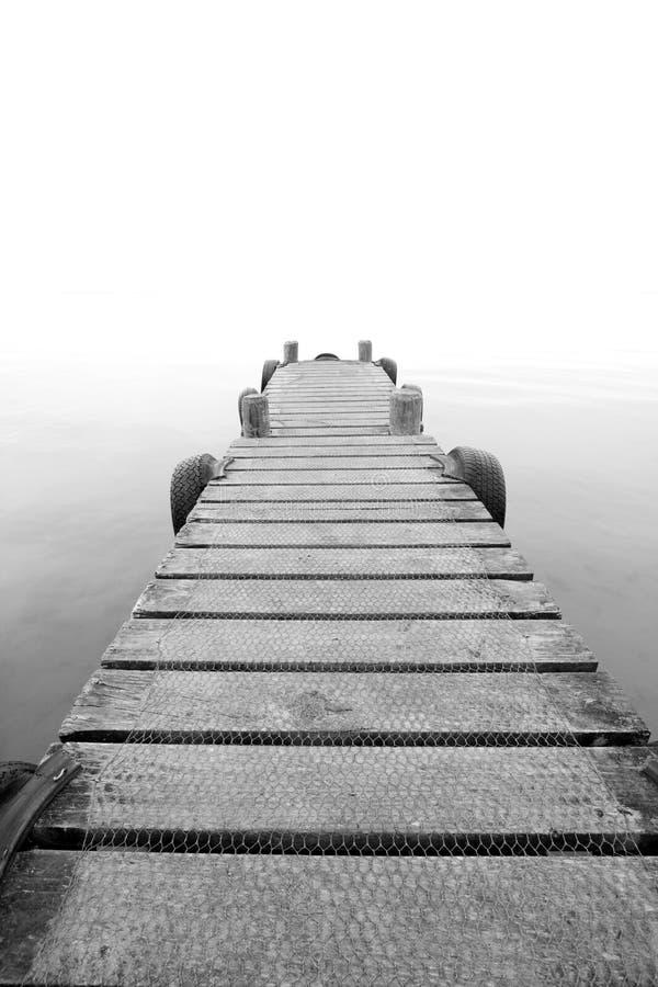 Pier in mist royalty-vrije stock foto