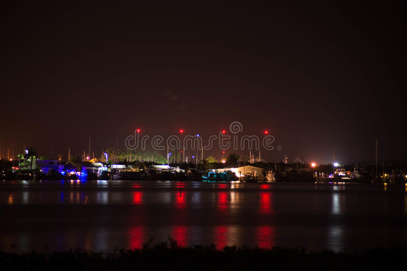 Pier at night stock photography