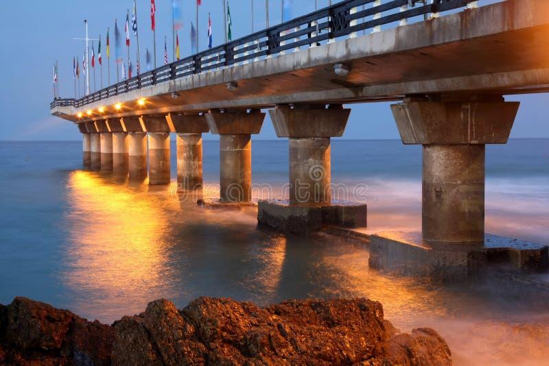 Pier at Night, Port Elizabeth stock photos