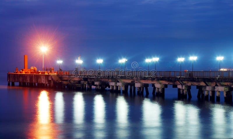 Download Pier at nights stock image. Image of dark, harbor, background - 35008621