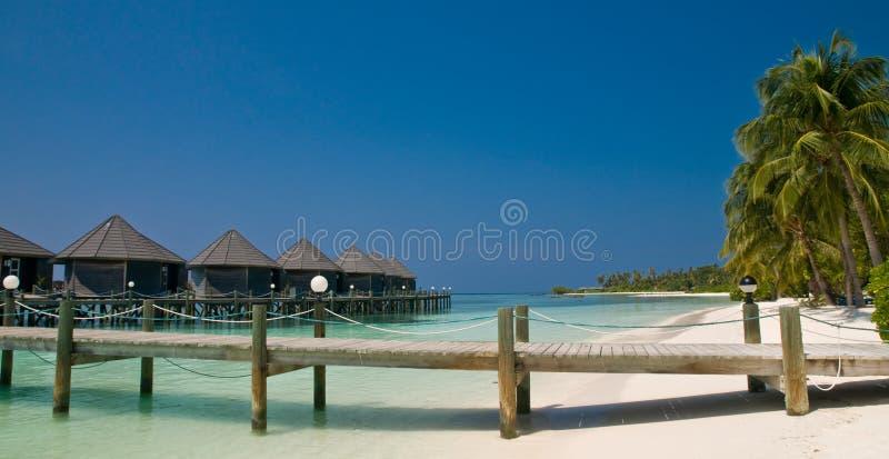 Pier op een tropisch strand royalty-vrije stock foto