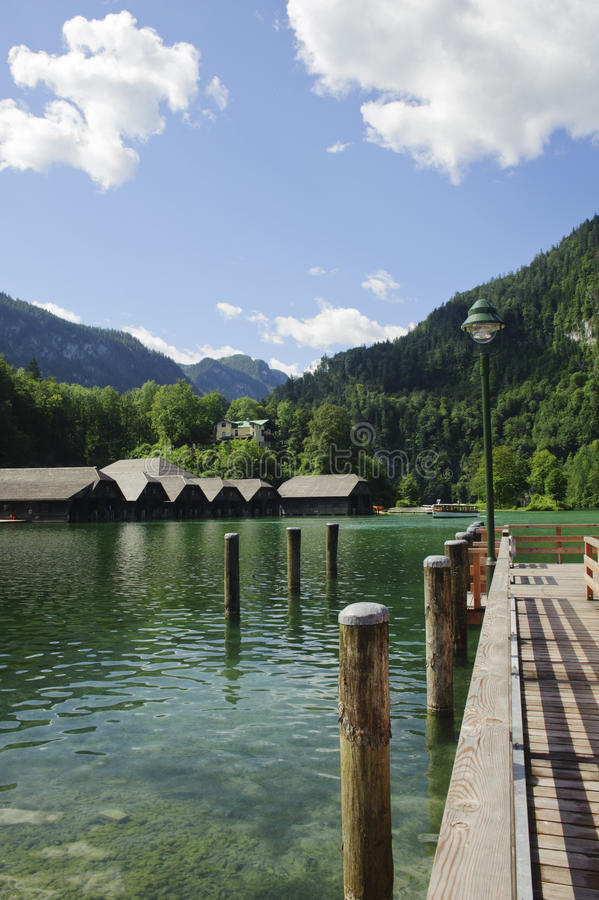 Pier over the lake. Pier over the lake in koenigssee, berchtesgarden, germany royalty free stock photography
