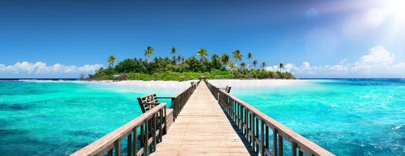 Pier For Paradise Island - tropisk destination fotografering för bildbyråer