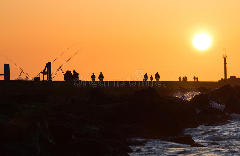 Download Pier With People Fishing And Walking Royalty Free Stock Photos - Image: 14401678