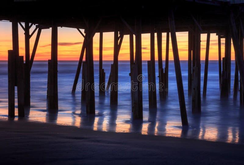 Pier Pilings Foundation Silhouette North Carolina fotos de archivo libres de regalías
