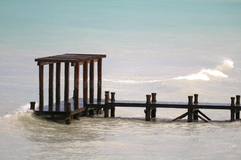 Pier at Playa del Carmen. Mexico, Mayan Riviera royalty free stock image