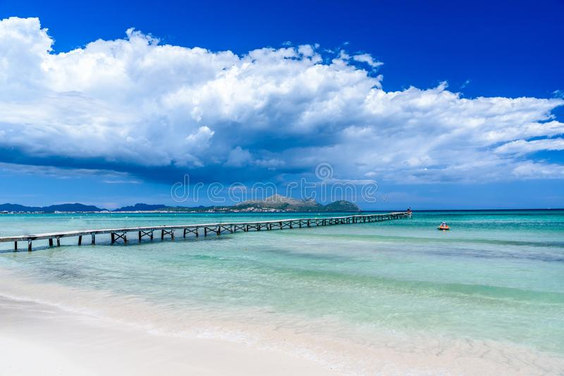 Pier at Playa Muro - Mallorca, balearic island of spain stock images