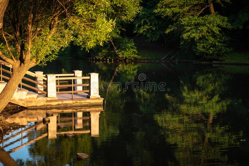 Pier on a pond, illuminated by the setting sun and the trees reflect in the dark water. A beautiful park landscape - a pier on a pond, illuminated by the setting stock image