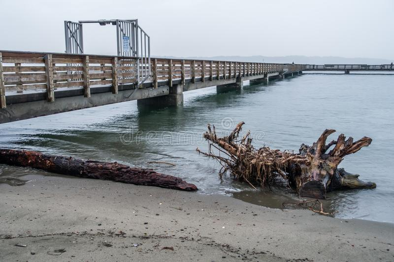 Pier On Rainy Day 6. A view of the pier at Dash Point, Washington on a rainy day royalty free stock image