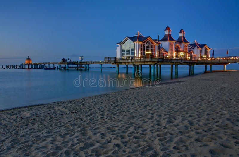 Pier with restaurant in Sellin, Baltic Sea, German stock images