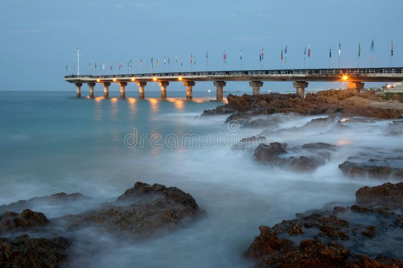 Download Pier and Rocks at Dusk stock image. Image of eastern - 14490143