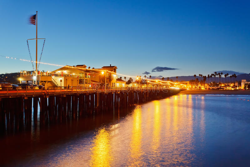 Pier in Santa Barbara at night. California stock image