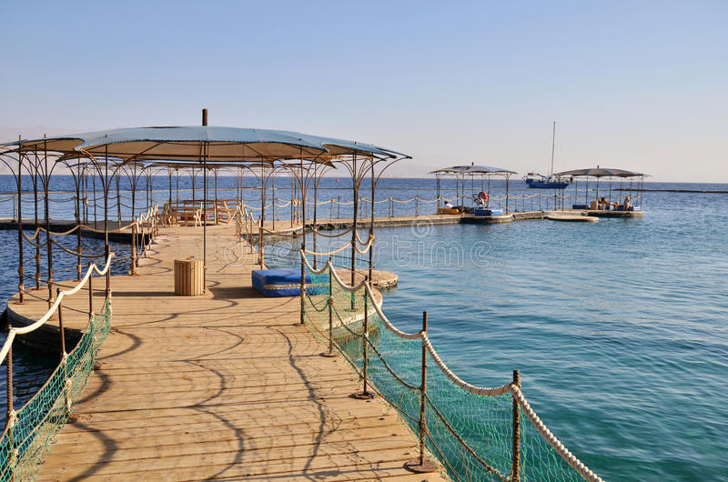 Pier on the sea in Eilat city. Famous resort in Israel stock photo