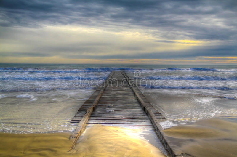 Pier sea in winter hdr royalty free stock images