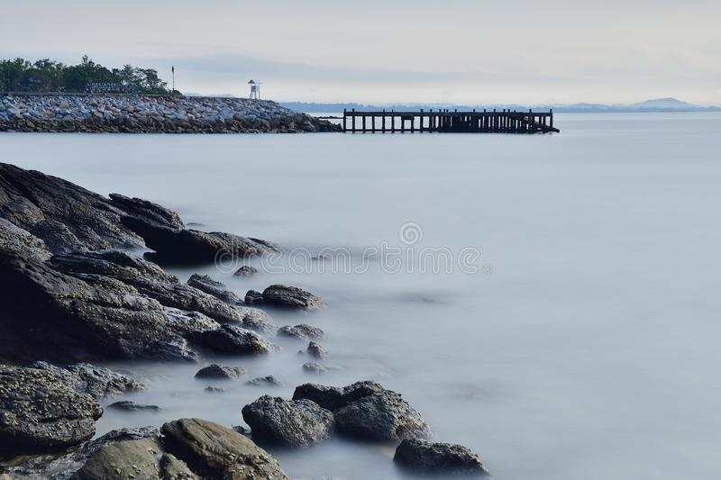 Pier on the seaside of Thailand royalty free stock photos