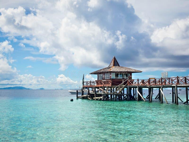 Pier at Sipadan Island, Sabah, Malaysia. Main per at Pulau Sipadan island in Sabah, East Malaysia royalty free stock photography