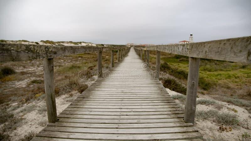 Pier sobre las dunas en la costa fotografía de archivo