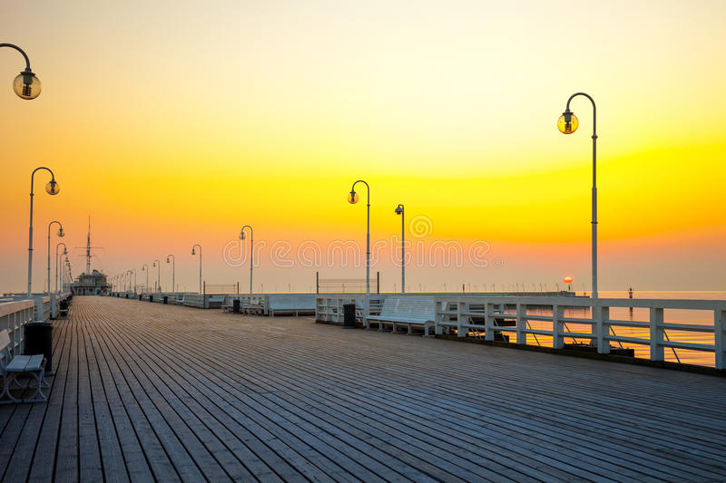 Pier in Sopot. Sunrise at the pier in Sopot, Poland royalty free stock image