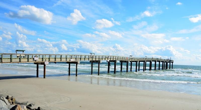 Pier on St Augustine beach stock image