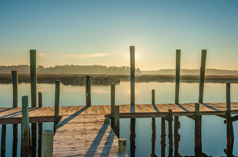Pier Sunrise foto de stock royalty free