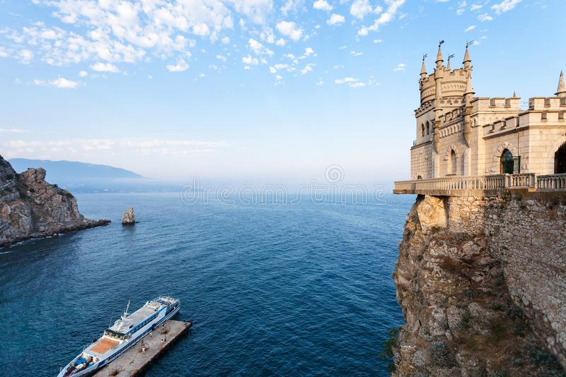 Pier and Swallow Nest castle over Black Sea stock image