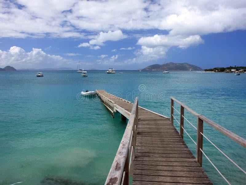 Pier at Tortola island stock image